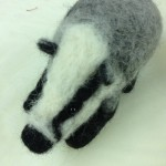 Needle felted badger